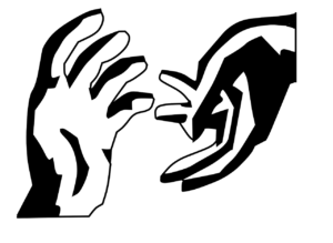 To hender som strekker seg mot hverandre