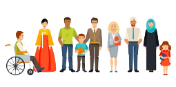 En samling av ulike personer med ulik alder, etnisitet og funksjon.