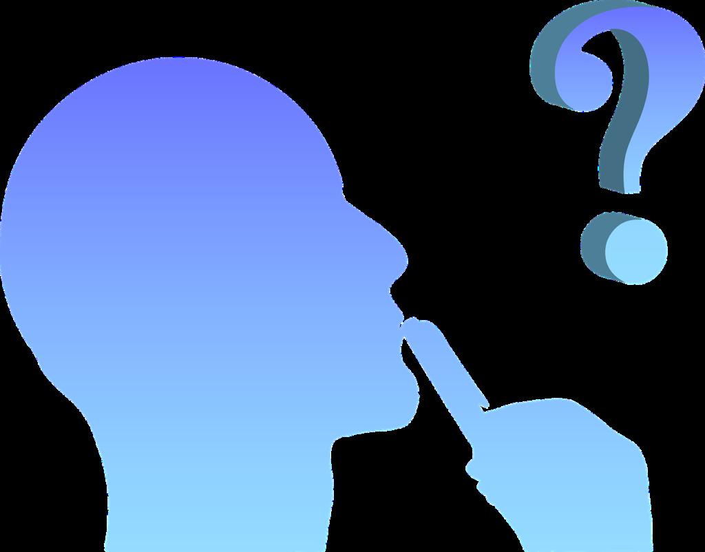 Profil av tenkende mann, spørsmålstegn i luften.