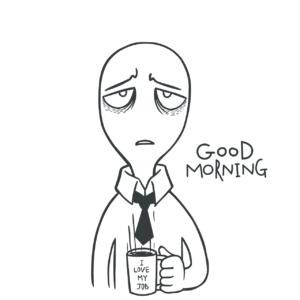 Sliten figur som holder en kaffekopp.