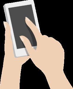 Hender som holder en mobiltelefon