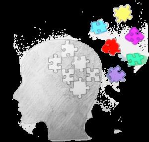 Bildet viser silhuetten av en person hvor det mangler noen puslespillbrikker. Brikkene er plassert rundt på bildet.