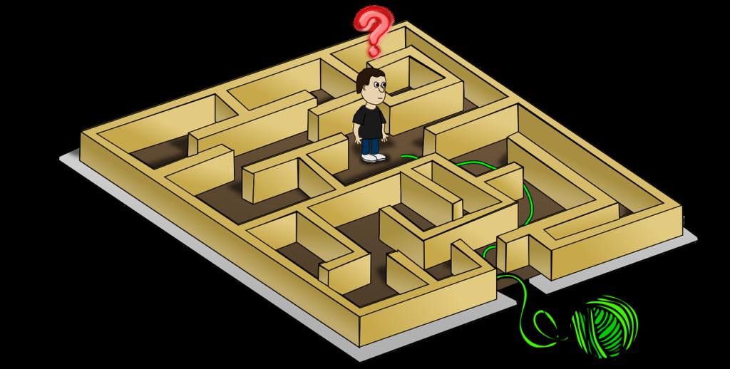 Mann som har gått seg vill inni en labyrint.