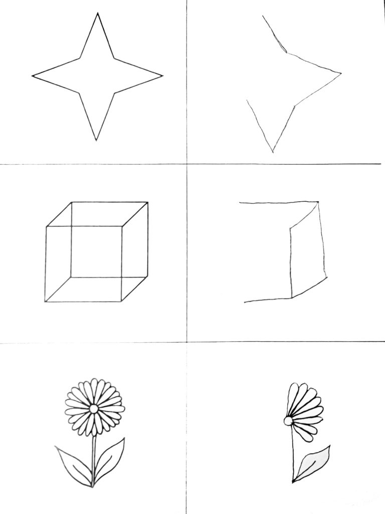 Neglekttest hvor pasienten skal kopiere figurer. Denne illustrasjonen viser hvordan pasientene utelater venstre side av tegningene.