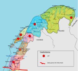 Kart over Nord-Norge og hvor de ulike kontorene for ART befinner seg.